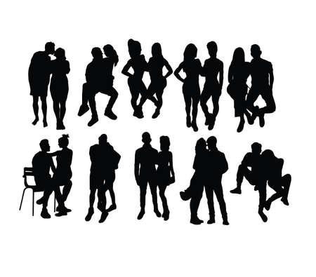 Couple People, art vector silhouette design