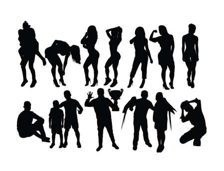 People Activity Silhouettes, art vector design Vectores
