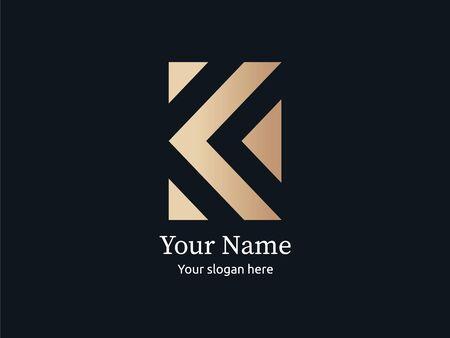 Modern luxurious letter K golden logo Illustration