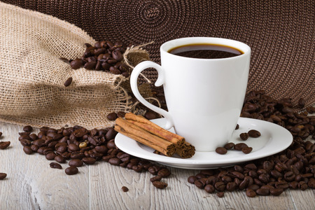 coffe beans: Coffe Cup with coffe beans Stock Photo