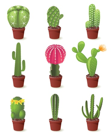 9 cactuses icons set illustration Vector