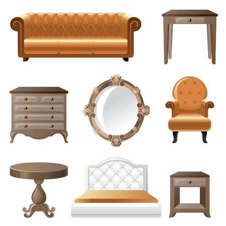 home furniture: Retro-styled home furniture icons.