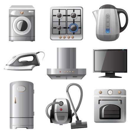 kettles: Electrodom�sticos iconos conjunto Vectores