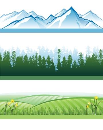 arbre     ? � feuillage persistant: 3 banni�res paysage color�, avec des montagnes, des for�ts et des collines