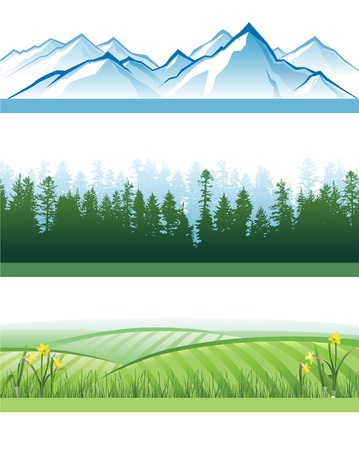valley: 3 colorful landscape banners with mountains, forests and hills Illustration