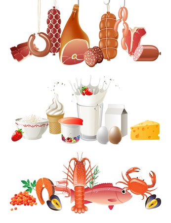 meat, diary products and seafood borders  Vector