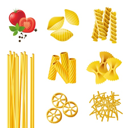 7 different pasta types  Illustration