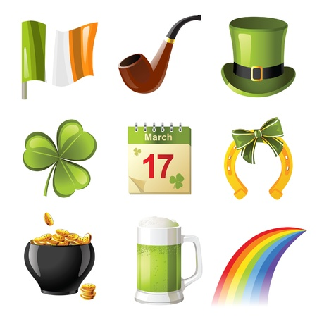 tobacco pipe: St. Patricks day icons set