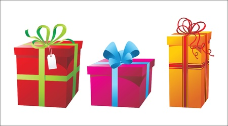 3 colorful presents boxes Stock Vector - 14257281