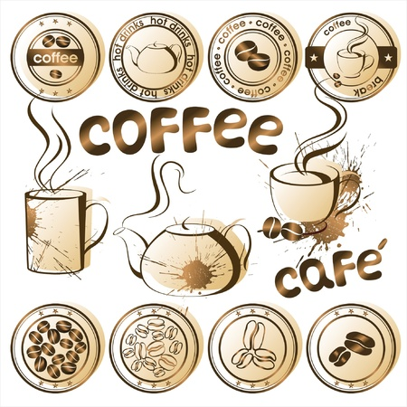 coffee crop: coffee stamps Illustration