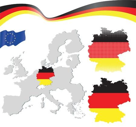 bandera de alemania: Alemania mapa Vectores
