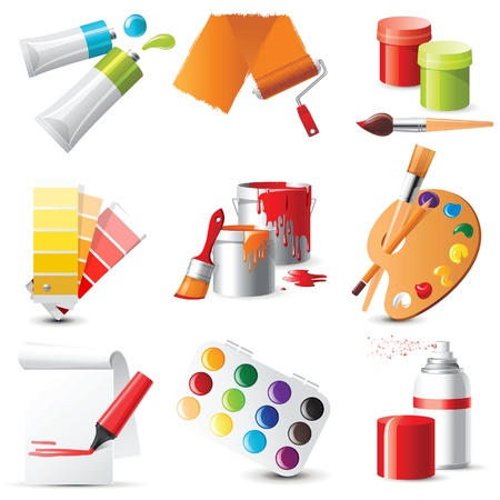art supplies: 9 highly detailed artists supplies icons