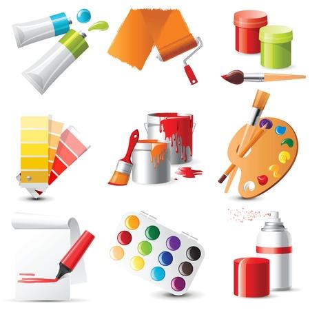 knutsel spullen: 9 zeer gedetailleerde kunstenaars benodigdheden iconen Stock Illustratie