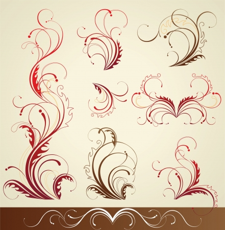 retro-styled design floral elements Stock Vector - 14257289