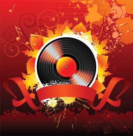 tree disc: colorful music background with vinyl and autumn leaves