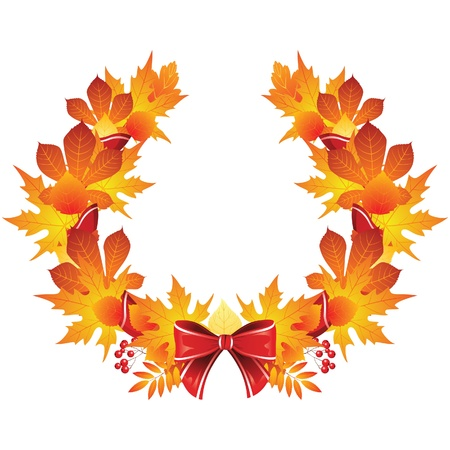 wreath from autumn leaves Vector