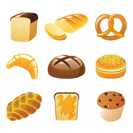 bagel: 9 zeer gedetailleerde brood iconen Stock Illustratie
