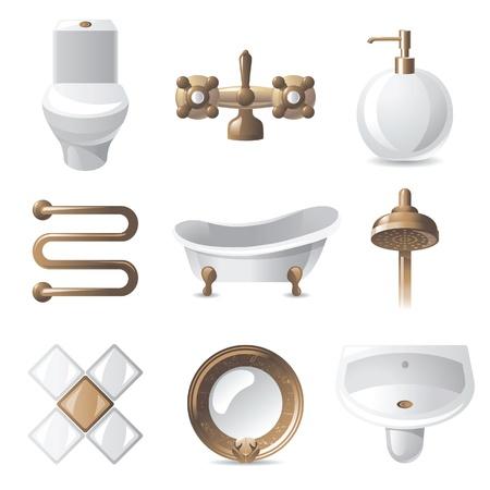 lavabo: 9 iconos cl�sicos de ba�o con estilo Vectores