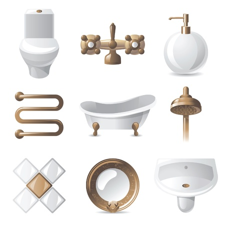 9 vintage styled bathroom icons