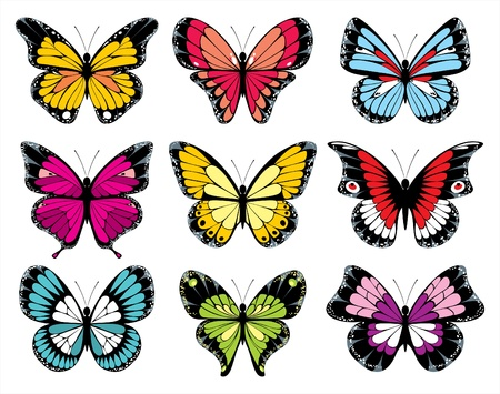 stylized butterfly icons Vector