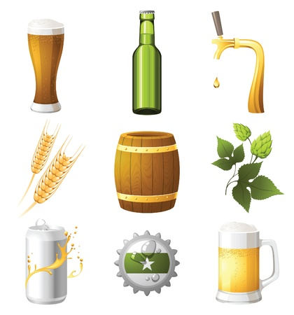 9 highly detailed beer icons Stock Vector - 13869429
