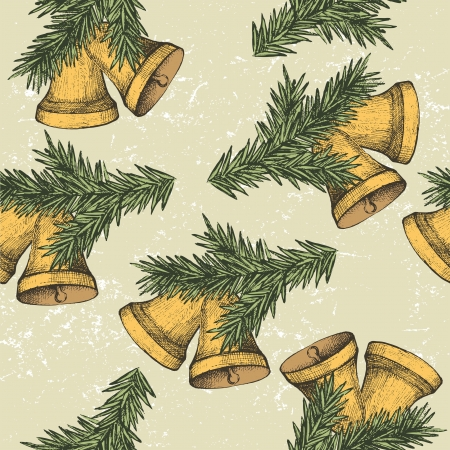hand bells: seamless ornament with hand drawn handbells