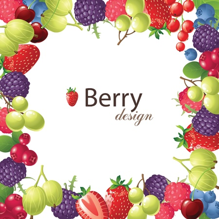 cranberry illustration: berries frame for your designs