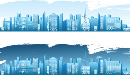 sky line: day and night city banners