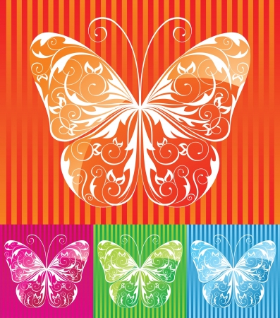 Colorful floral butterfly in 4 color variation Stock Vector - 14257292