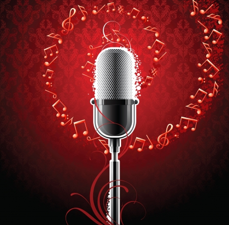 music background with microphone Stock Vector - 14257325