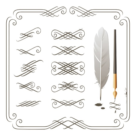 Set of calligraphy design elements