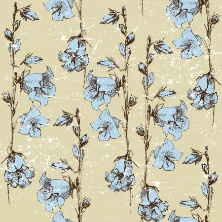 bluebells: seamless retro-styled background with bluebells