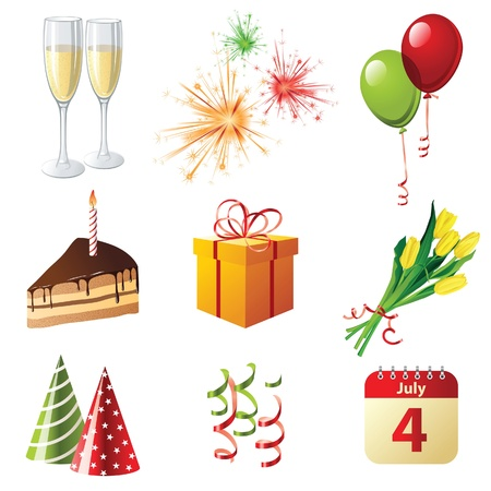 9 highly detailed celebration icons Stock Vector - 13869455