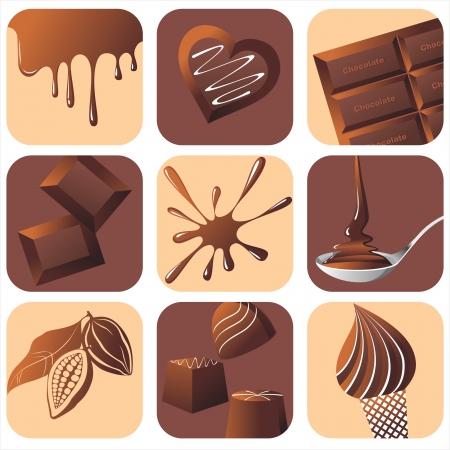 9 chocolade iconen Vector Illustratie