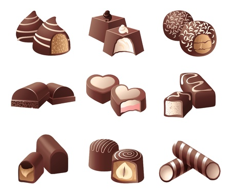 porous: 9 highly detailed chocolate candies Illustration