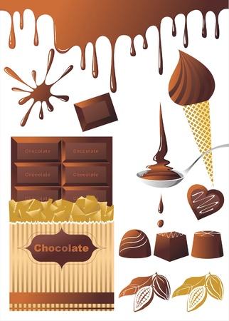 candy bar: Cioccolato impostare le icone Vettoriali