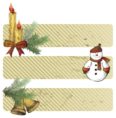 Christmas banners with hand drawn elements Vector