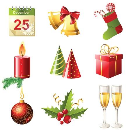 glossy Christmas icons set Фото со стока - 13869492