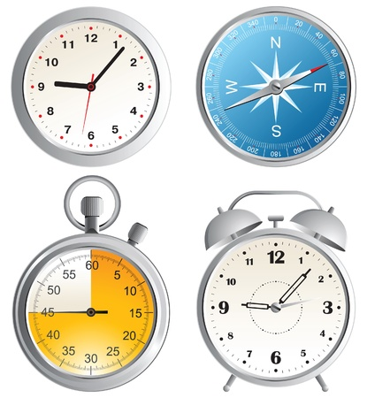 dial compass: clock, alarm clock, compass and stop watch icons