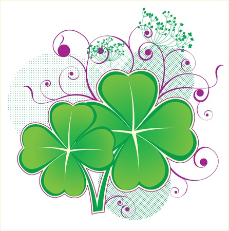 four objects: luck clover icon Illustration