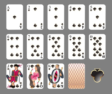 knave: Playing cards - club suit highly detailed vector illustration Illustration