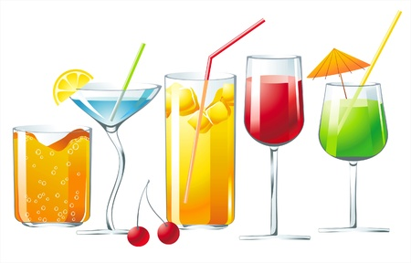 5 bright cocktails Vector
