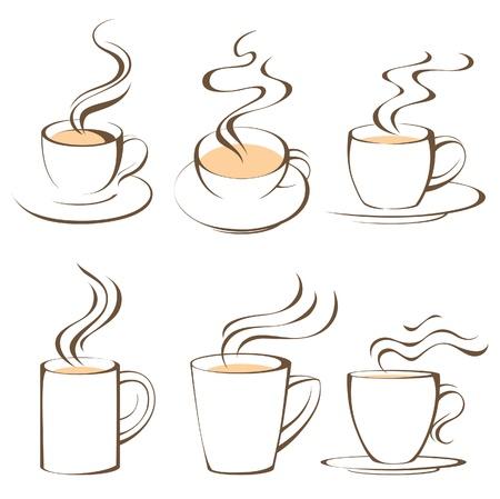 smoke: gestileerde koffie en thee kopjes Stock Illustratie