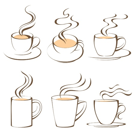 black smoke: stylized coffee and tea cups