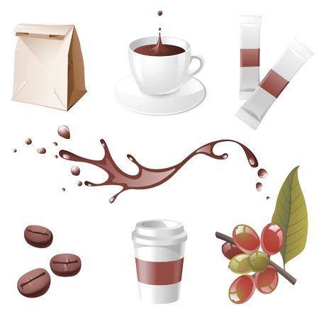 Kaffee realistische Symbole gesetzt