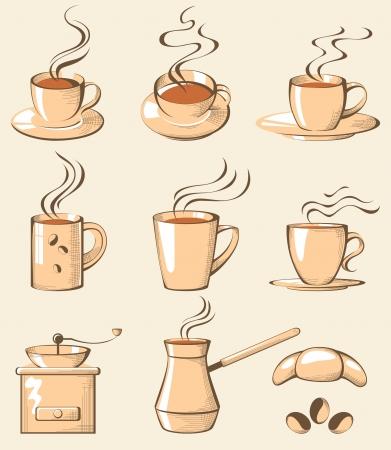 retro-styled coffee icons Vector
