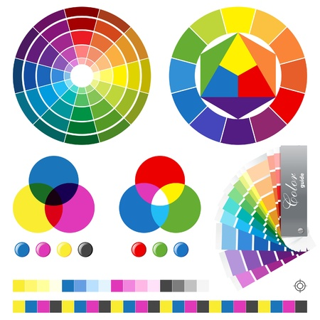 offset printing: Color de las gu�as de la ilustraci�n Vectores