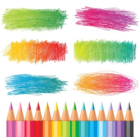 pencil texture: hand drawn creative banners and coloured pencils