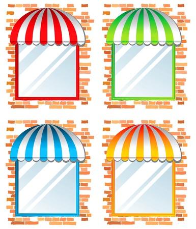 store window: etalage met voortent in 4 kleurvarianten