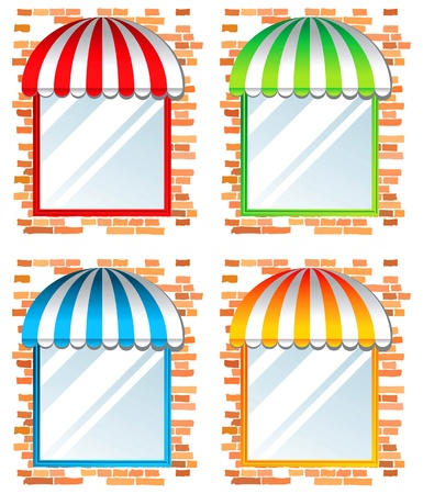 store window: store window with awning in 4 color variations